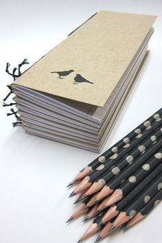 Notebook  with Two Birds and a Pencil by Nicopapergoods on Etsy, $12.00