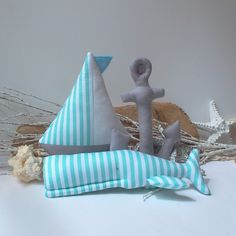 Mint Whale toy, Sailboat & Anchor, Nautical pillows, Stylish nursery toys. Gift for Nautical baby shower. Soft, cute and child friendly