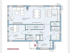 Grundriss EG Variant 25-192 von Hanse Haus GmbH & Co. KG. Im Erdgeschoss fällt besonders der Windfang ins Auge, der selten zu finden ist, sowie der äußerst geräumige Wohn-, Ess- und Küchenbereich. #floorplan