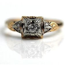 Antique 14 Kt Two Tone Old European Cut Diamond Engagement Ring Circa Early 1900 Ebay Wedding