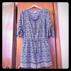 Loft Navy and White Pattern Romper - Size 6 Worn once - mint condition. The perfect light weight romper. Feels expensive. Roll sleeve, button front. LOFT Other