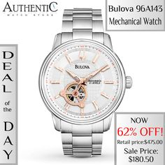 DEAL OF THE DAY! NOW 62% OFF! The automatic movement is visible through the patterned white dial of this elegant men's watch from the Mechanical Collection by Bulova. SAVE $294.50 NOW! http://www.authenticwatchstore.com/bulova-96a143-watch-mechanical-mens-white-dial.html