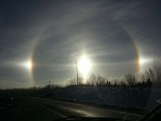 Double rainbow solar flare on 401 outside Oshawa.