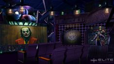 "This Joker's Lair themed home cinema idea is the perfect homage to Gotham's ""Clown Prince of Crime."" Customize your very home theater from Elite HTS today. Movie Theater, Theatre, Smart Home Technology, Smart Home Automation, Home Theater Seating, Home Cinemas, Back Doors, Room Themes, Roller Coaster"