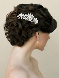 Vintage Rhinestone Floral Hair Comb ~ Rohanna