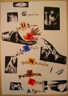 Un exemple d'activité en arts visuels après l'étude d'un tableau en histoire des arts : WOUHAOU! Picasso Guernica, Pablo Picasso, Bombing Of Guernica, Dora Maar, Spanish Painters, Famous Words, 3 Arts, Art Activities, Printmaking