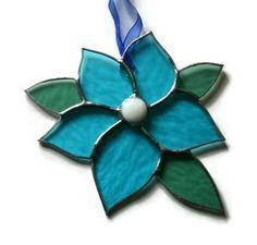 Aqua Blue Flower stained glass sun catcher
