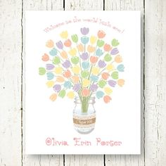 Baby Girl Shower Guest Book Alternative Bridal Shower Wedding Guestbook  Signature Guest Sign In Poster Printable Mason Jar Flowers Pdf Jpg