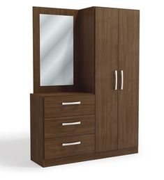 Buy Araki Two Door Wardrobe cum Chest of Three Drawers cum Dressing Table by Mintwud Online - Modern Chest of Drawers - Chest of Drawers - Furniture - Pepperfry Product Cupboard With Dressing Table, Wardrobe With Dressing Table, Dressing Table Modern, Furniture Dressing Table, Dressing Table Design, Wardrobe Door Designs, Wardrobe Design Bedroom, Bedroom Furniture Design, Closet Designs