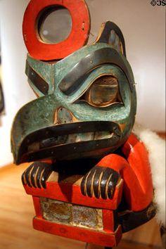 Northwest Coast Native Wooden Box of Daylight Raven Hat (c1850) by Tlingit artist of Taku at Seattle Art Museum. Seattle, WA.