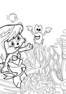 Cartoon Mermaid Coloring Page