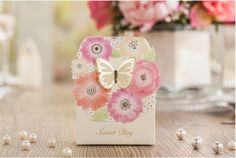 Finex® 100 pcs Premium Korean Wedding Design *3D Butterfly on Flower Wreath* Party Favors Candy Boxes *Hollow Carved Laser Die Cut Gold Foil Embossing* DIY Sweet Treat box for Guests >>> Click image to review more details.
