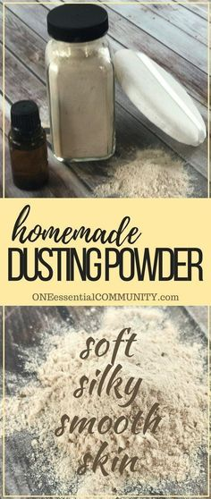 Homemade dusting powder gives skin a soft, silky, luxurious feel. Keeps you cool, dry, and smelling-fresh all day. Naturally scented with lavender, jasmine, and orange essential oils. {DIY dusting powder recipe with essential oils from ONEessentialCOMMUNI