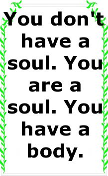 You don't have a soul. You are a soul. You have a body....