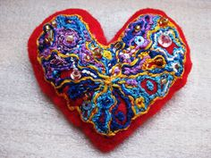 Embroidered red felt heart brooch made for the lovely Grazia