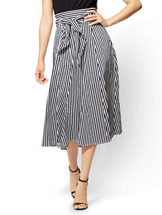 414a52574d Shop 7th Avenue - Paperbag-Waist Full Skirt - Stripe. Find your perfect  size. New York & Company