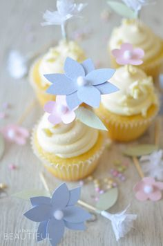 Make your next spring party even sweeter by making these Pastel Paper Flower Cupcake Toppers. You can make these DIY paper flowers in a few different designs using either cardstock or tissue paper and change the colors to fit your celebration. Floral Cupcakes, Pretty Cupcakes, Cupcake Flower, Diy Cake Topper, Cupcake Toppers, Cupcake Ideas, Wedding Cupcakes, Birthday Cupcakes, Flower Crafts