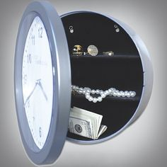 Working wall clock also conceals your valuables. The sleek, silver-tone clock will be a modern addition to any decor, and the simple hinged design makes it easy to hide jewelry, cash and more. Wall Clock Safe, Wall Safe, Silver Wall Clock, Silver Walls, Secret Hiding Places, Hiding Spots, Hidden Places, Hidden Compartments, Secret Compartment