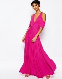 Image 4 ofASOS Cold Shoulder Pleated Maxi Dress