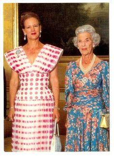 Queen Margrethe II and her mother Queen Ingrid of Denmark