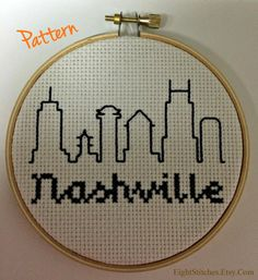 PATTERN Nashville Skyline Cross Stitch Pattern by eightstitches