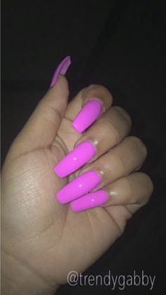 Pink long acrylic nails