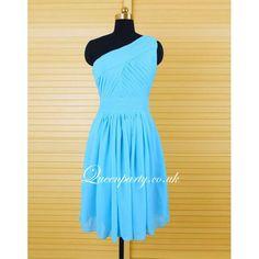 Sky Blue Chiffon One Shoulder Pleated Short Dress - Bridesmaid Dresses - Wedding Dresses