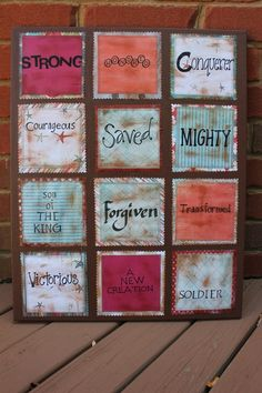 scripture! This would be cool with those little bitty canvases. :)