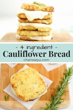 goodness of bread without the high calorie carbs! This 4 Ingredient Cauliflower Bread is your answer to guilt free bread and is ooey gooey cheesy enough to satisfy the whole family! Easy Keto Bread Recipe, Lowest Carb Bread Recipe, Easy Cake Recipes, Bread Recipes, Whole Food Recipes, Healthy Recipes, Keto Recipes, Keto Desserts, Healthy Cauliflower Recipes