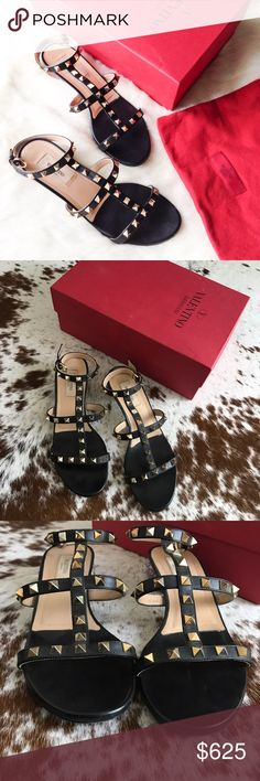 "Valentino rockstud T Strap lucite sandals 38.5 Authentic and rare Valentino shoes. Black with gold studs. Cool clear 1"" heel with studs! Worn a few times but in excellent condition with no missing studs. Have the box but no dust bag or extra studs (you can get some from Valentino if you'd like). Valentino Shoes Sandals"