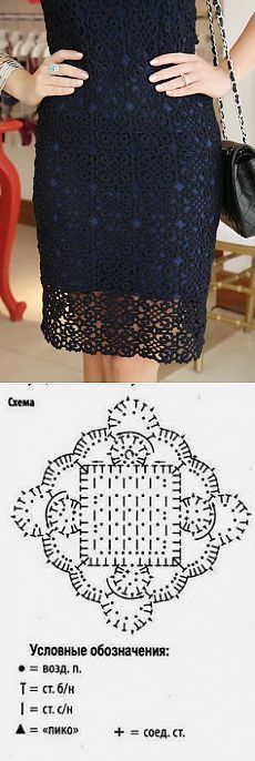Fabulous Crochet a Little Black Crochet Dress Ideas. Georgeous Crochet a Little Black Crochet Dress Ideas. Crochet Motifs, Crochet Chart, Crochet Squares, Filet Crochet, Irish Crochet, Crochet Lace, Crochet Stitches, Crochet Skirts, Crochet Cardigan