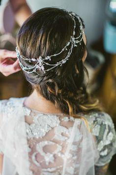 bohemian hair accessory, photo by EPLove http://ruffledblog.com/castle-house-garden-wedding #accessory #bridal #vintage