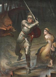 An poster sized print, approx (other products available) - SAINT GEORGE In a full suit of armour, flanked by the dragon on one side and the chained-up princess on the other - Image supplied by Mary Evans Prints Online - Poster printed in the USA Dante Gabriel Rossetti, Charles Edward, Arte Dark Souls, Pre Raphaelite Paintings, Saint George And The Dragon, John Everett Millais, Knight In Shining Armor, Fine Art Prints, Canvas Prints