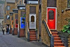 Some awesomely painted doors in Greenwich London. Cheers The Doors Greenwich London, When One Door Closes, Unique Doors, Next Door, Door Knockers, Closed Doors, Doorway, Windows And Doors, Stairs