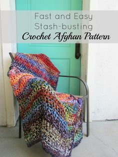 Free crochet pattern: Fast and Easy Stash-Busting Afghan | Use up your extra crochet yarn for this easy project