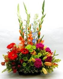 A Summer English Garden - Tall, colorful gladiolas, blue delphinium, orange lilies, green button poms, carnations, gerbera daisies and more adorn a decorative wicker basket with a handle.