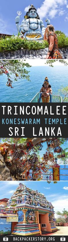 Koneswaram Temple is a Hindu Temple dedicated to Lord Shiva located in Trincomalee, Eastern Sri Lanka. How to get to the Koneswaram Temple Hindu Temple, Backpacker, Im In Love, Temples, Sri Lanka, Destinations, Big, Pictures, Photos