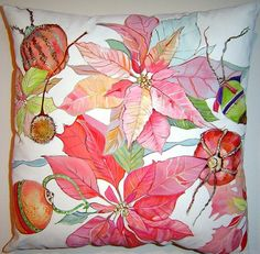 Poinsettias & Decorated Fruit 16x16 Pillow Hand by PAINTEDPILLOWS