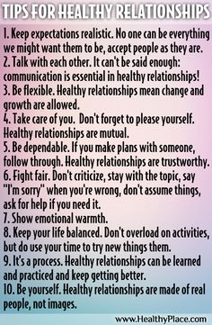 """Here are the signs of a healthy relationship and ways to make relationships healthy."" www.HealthyPlace.com"