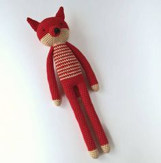 Crocheted fox  A sweet fox with long arms and legs will surely please your child. Fox of beautiful red color. The toy is tied with high-quality yarn and very pleasant to the touch.  This toy will be an excellent gift for the child.  Stuffing material: Holofiber (hypoallergenic) No small details. The soft toys will make a perfect gift for your children and friends. Standard international shipping takes up to 20 business days.  Normal delivery time out from Ukraine takes about:  U.S. - 14-30…