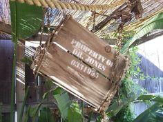 Indiana Jones backyard Indiana Jones Halloween, Indiana Jones Birthday Party, Jones Bar, Garden Bar, Garden Ideas, Restaurant Patio, Halloween Displays, Beach Shack, Jungle Theme