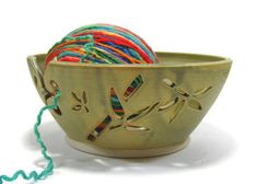 RESERVED FOR LARA Yarn Bowl Knitting Crochet Bowl by GlyntPottery