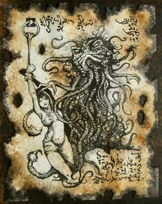 THOG the DEMON of XUTHAL Necronomicon page Cthulhu larp by zarono