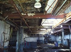 """My novel """"Hometown News"""" was originally going to be called """"Rust Belt."""" It takes place in a small industrial city with scenes like this. Urban Decay Photography, State Of Decay, Flint Michigan, Rust Belt, Scary Places, City Lights, Central America, Abandoned, Scenery"""