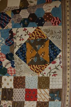 "detail - Patchwork summer coverlet, English circa with patches dating from late century including ""indiennes"", block printed sprigged patterns, roller-printed x made in the Stroud area of Gloucestershire. Old Quilts, Antique Quilts, Barn Quilts, Vintage Quilts, Vintage Fabrics, Hexagon Quilt, Square Quilt, Hexagons, Make Do"