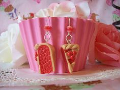 Earrings Cherry Pie Slices by sugarcubecorner on Etsy, $12.50 omg i would love to by this and wear it everytime i bake something