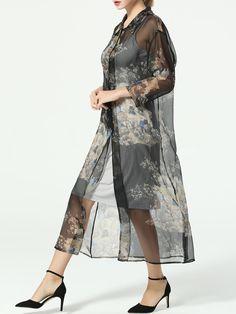 Printed Silk Two Piece Maxi Dress TAOYANSHUO - stylewe.com