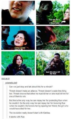 Rue not Katniss.. This would have been useful when I was writing an essay about the Hunger Games for English...