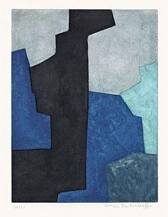 Serge Poliakoff, Composition noire, bleue et mauve, 1964
