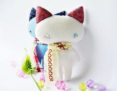 How friggin cute is this doll!! :) Cat doll white cat doll mini cat doll cat plush by DooDesign, $12.00
